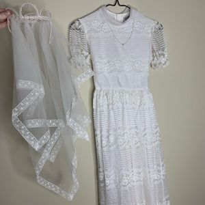 First Holy Communion Dress - Satin & Lace w Pearls